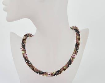 Bead crochet mysterie flowers - Beaded crochet rope - snake necklace - crochet necklace