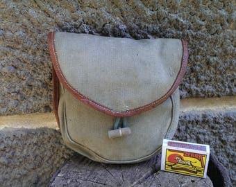 Vintage Belt Bag, Vintage Khaki Cotton Canvas Belt Bag, Military Belt Bag, Ammo Pouch, Small Hunting Bag from 1970s