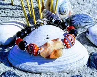 Agate and Multi-Color Orange Porcelain with Faceted Black Onyx and Faceted Deep Orange Carnelian Beaded Bracelet