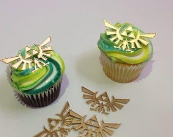 Zelda and Link Hyrule Crest Triforce Cupcake Toppers (1 Dozen)