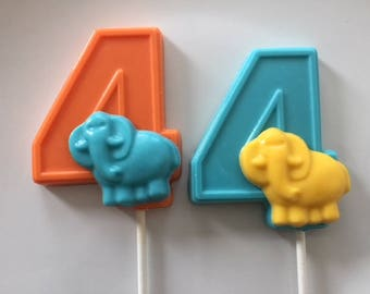 NUMBER FOUR ELEPHANT Chocolate Lollipops (12 qty)Fourth Birthday/Elephants/Number 4/Party Favors/Zoo Animals/Safari Party/4th Birthday Favor