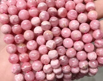 8mm Rhodochrosite Round Beads AA Quality Pink Ivory Glossy Rounds Natural Stone Authentic Gemstone