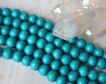 10mm beads, chunky wood beads, teal beads, large wood beads, wood beads, full strand,