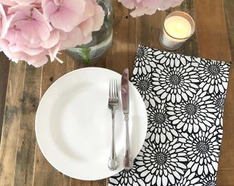 Floral Print Tea Towel, Black & White, Kitchen Decor, Monochrome Kitchen
