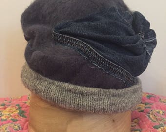 Denim Delight! Hand Crafted Upcycled Casual Vintage Modern Fusion Repurposed Hat, Blue and Grey
