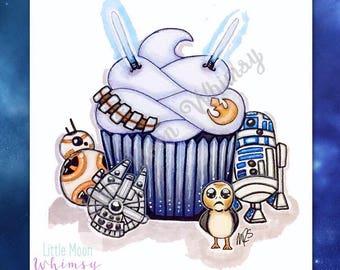 Space Fandom Cupcake Illustration || Fine Art Print