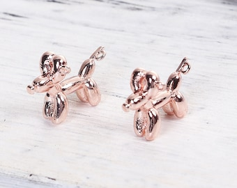 Rose Gold Balloon Dog Charm - Clip On - Ready to Wear