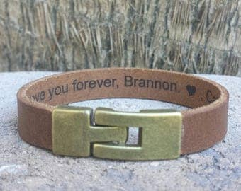 FREE SHIPPING-Message Man Bracelet, Hidden Message Bracelet,Men Leather Bracelet,Men Personalized Bracelet,Custom Leather Bracelet