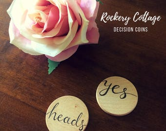 Decision coin, yes no coin, yes no disc, decision disc, flip coin, pocket token, yes or no, novelty gift, him or her, heads or tails
