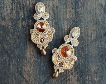 Soutache dangle long earrings, Gold and beige earrings with Swarovski, Crystal earrings, Embroidery earrings, Soutache jewelry,FREE SHIPPING