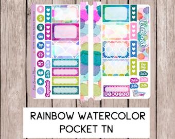 RAINBOW WATERCOLOR Pocket TN Sticker Insert | perfect for field note/pocket travelers notebooks | TNp4