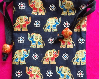 Handmade Thai Black and Gold Elephant Print Fabric Tarot Card Pouch Bag Dice Pouch Jewelry Bag With Drawstring