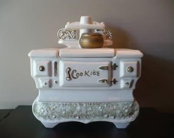 Vintage McCoy White Stove Cookie Jar, McCoy Pottery, Wood Burning Stove
