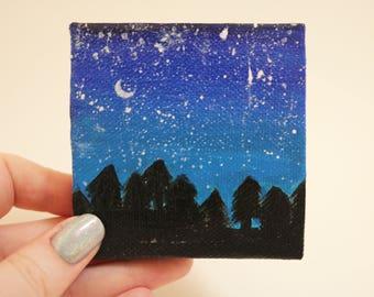Miniature Night Sky Tree Horizon Canvas Painting