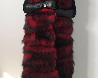 Vest  jacket coat fur   fox  Black