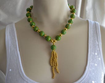 Green Imperial Jasper Natural Stone and Gold tone Beads Tassel Choker Necklace