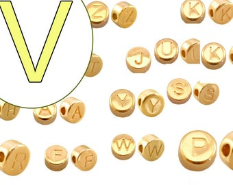 alphabet bead  V 7mm gold plated #3848