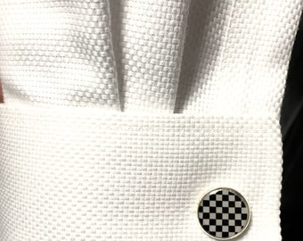Cuff links/ manchette/  Black & white/ 14-16 mm
