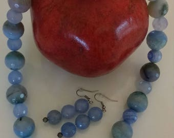 Handmade blue agate necklace and earrings set