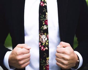 """Black Floral Skinny Tie 2"""""""