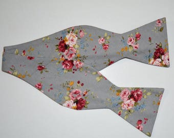 Men's Gray And Pink Red - Self Tie Bow Tie| Flower | Self Tie | Bow Tie | Bowtie | Floral | Wedding | Groom | Gift | Ideas | for him