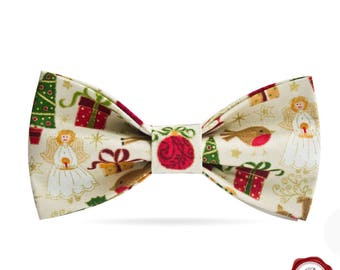 Christmas Bow tie with Christmas/ men's bow tie / children's bow tie / father and son bow tie gift set/ Secret Santa