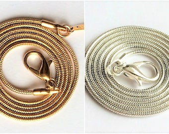 18K gold  1.2mm snake Chains Necklaces , silver plated snake chain 43 cm, high quality!