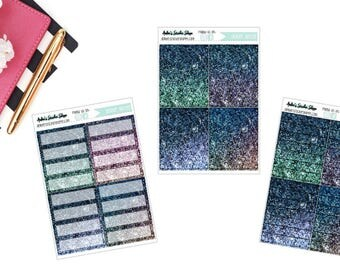 Deep Blue Sea Omber Printed Glitter Planner Stickers