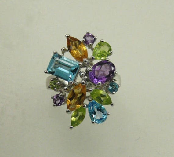 Multi-Color 4.79ct Gemstone Ring with Sterling Silver Setting