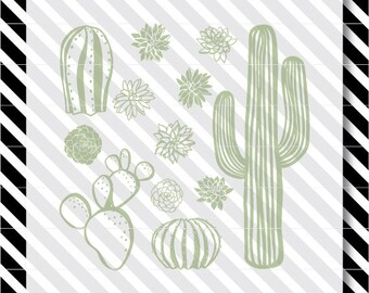 Cactus svg cut file - cactus Cutfile - Cactus Silhouette dxf - Succulent vector art - cactus svg - Succulent svg - Succulent svg cut file