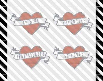 Valentine Hearts svg - Heart and Banner cutfile - Valentine svg - Valentine Heart dxf - Valentine Banner svg - Valentine Banner dxf cutfile