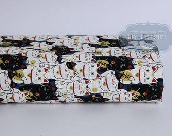 Japanese Maneki Neko cat fabric