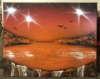 Orange Lake with Waterfalls - Spray Paint Art