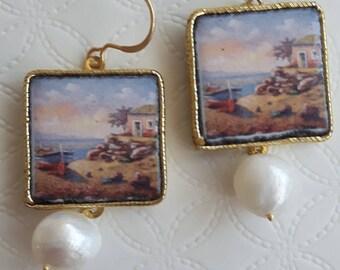 Pendant earrings with ceramic tiles Caltagirone, white pearls, Sicilian earrings