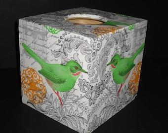 Square Tissue box Cover, Decoupage Tissue Holder, Green Bird