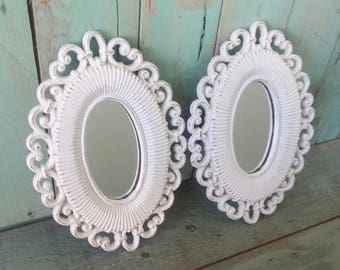 Small Vintage Shabby Chic Rustic Homco Mirrors Painted Antique White and Distressed
