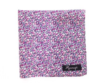 Pocket square in Liberty purple Pepper, costume accessory, wedding