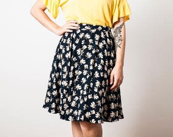 Floral Print Circle Skirt, Full Circle Skirt, High Waist Printed Cotton Skirt, Summer Magnolia Print Skirt