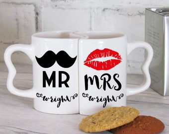 Mr & Mrs Moustache and Lips Personalised Mug Set, Novelty Mug Design, Couple's Mug Set