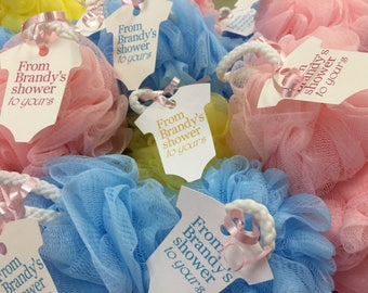 Great Baby Shower Favor Bath Poufs Loofah Sponges And Tags