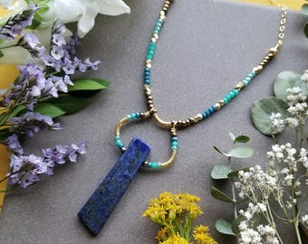 Lapis Lazuli Beaded Loop Necklace in Brass >> Deep Blue Lapis w/Bronze, Blue, Green, and Turquoise Accents > Boho, Gemstone Jewelry
