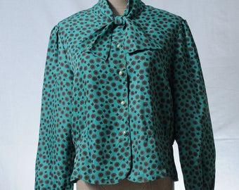 Vintage teal green tile pattern print bow tie blouse