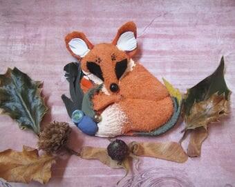 Fox brooch leather, Red Fox brooch, Orage Fox brooch leather, Mother's day gift, forest brooch, forest fox brooch, animal brooch, gift fox