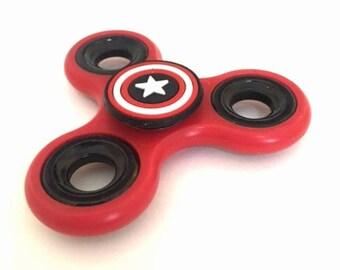 Captain America Fidget Spinner - RED  -  Finger Spinner - Stress Relief - Captain America
