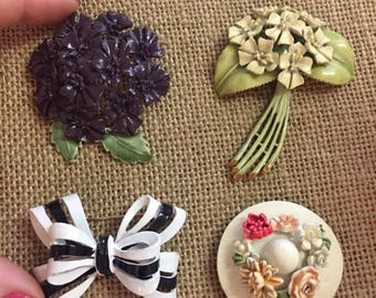 """Reseved for Bordas87  4 Vintage BSK """"My Fair Lady"""" Enamel Floral Brooches - 1964s"""