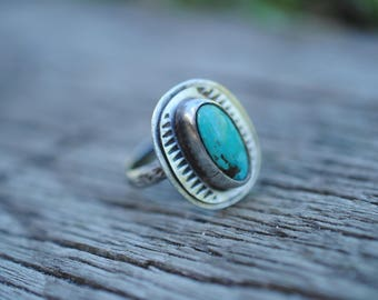 Stamped Turquoise Ring | Size 6.5 | Sterling Silver