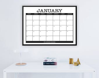 "Large 2018 Printable Monthly Calendar - 16"" x 20"" Calendar -  Home, Office - Large 12 Month Wall Calendar - 2018 Instant Download Calendar"