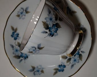 Colclough Blue Flower Teacup and Saucer, Pattern No. 8182