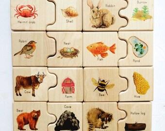 Wooden puzzle - Animal home puzzle - habitat puzzle - self correcting puzzle - montessori toy - Christmas gift - stocking stuffers