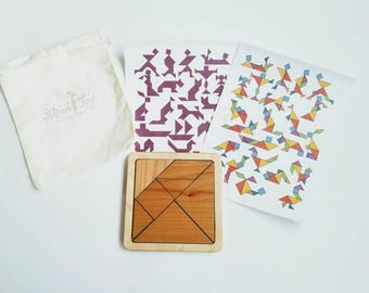 Wooden tangram - tangram puzzle - square puzzle - Easter gift - gift for kids - math manipulative - stem toy - Montessori - Waldorf